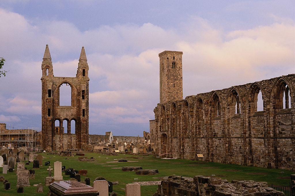 The ruins of St Andrews Cathedral, which dominated religious Scotland from its construction in the 12th century until the Protestant Reformation in 1560