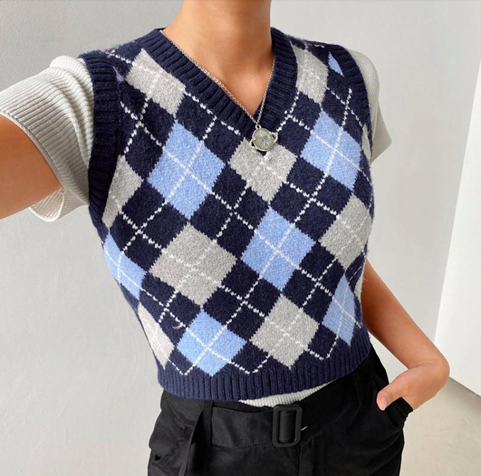 <p>This <span>Avril Vintage Knit Plaid Sweater Vest</span> ($21) is a failsafe addition to your outfit. We love seeing it styled with a short-sleeved top.</p>