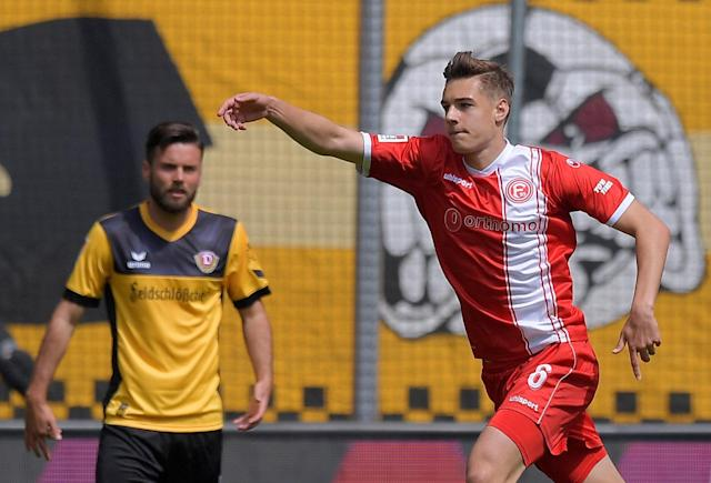 Soccer Football - 2. Bundesliga - Dynamo Dresden v Fortuna Dusseldorf - DDV-Stadion, Dresden, Germany - April 28, 2018 Fortuna Dusseldorf's Florian Neuhaus celebrates scoring their first goal REUTERS/Matthias Rietschel DFL RULES TO LIMIT THE ONLINE USAGE DURING MATCH TIME TO 15 PICTURES PER GAME. IMAGE SEQUENCES TO SIMULATE VIDEO IS NOT ALLOWED AT ANY TIME. FOR FURTHER QUERIES PLEASE CONTACT DFL DIRECTLY AT + 49 69 650050