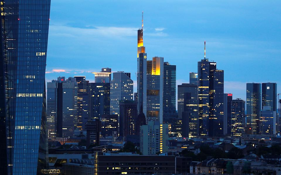 The skyline with its banking district is photographed in Frankfurt, Germany, August 13, 2019. REUTERS/Kai Pfaffenbach