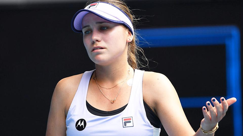 Sofia Kenin is seen looking visibly upset at the Australian Open.