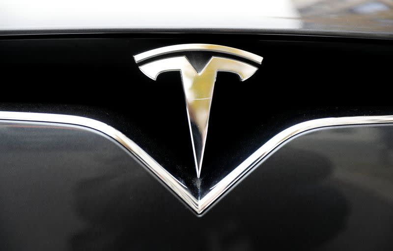 The company logo is pictured on a Tesla Model X electric car in Berlin