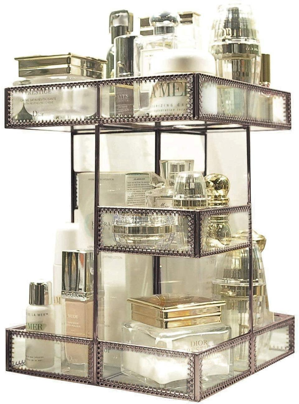 <p>The <span>360 Degree Rotation Glass Makeup Organizer</span> ($94) is a glamorous find that can house your most-used products!</p>