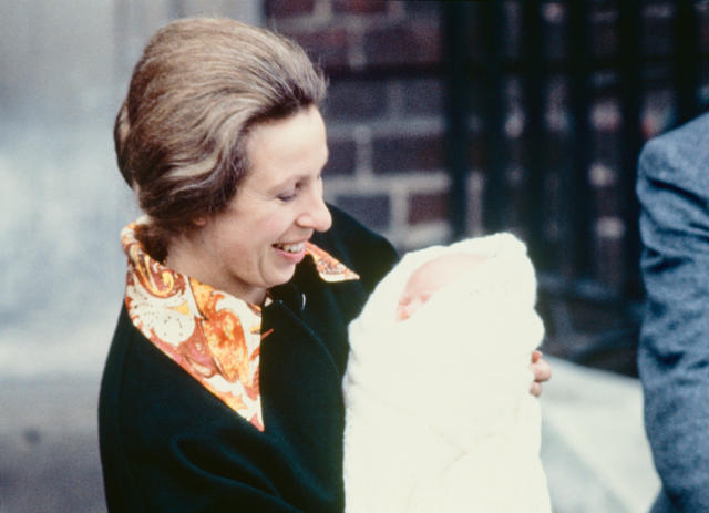 Princess Anne leaves St Mary's Hospital, Paddington, with three day old Zara (Getty Images)