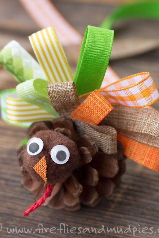 """<p>Pine cones, pom-poms, and pretty ribbons, oh my! This craft's impossibly simple, but it has a big payoff. And the end result is cute enough to display proudly on your table this year. </p><p><strong>Get the tutorial at <a href=""""http://www.firefliesandmudpies.com/2015/10/25/scrap-ribbon-pinecone-turkeys/"""" rel=""""nofollow noopener"""" target=""""_blank"""" data-ylk=""""slk:Fireflies and Mud Pies"""" class=""""link rapid-noclick-resp"""">Fireflies and Mud Pies</a>.</strong></p><p><a class=""""link rapid-noclick-resp"""" href=""""https://www.amazon.com/LaRibbons-Solid-Ribbon-Colors-Package/dp/B009V35YVC?tag=syn-yahoo-20&ascsubtag=%5Bartid%7C10050.g.28638625%5Bsrc%7Cyahoo-us"""" rel=""""nofollow noopener"""" target=""""_blank"""" data-ylk=""""slk:SHOP RIBBON"""">SHOP RIBBON</a> </p>"""