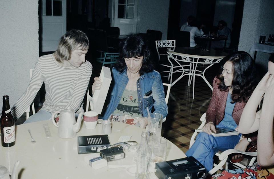 <p>The Rolling Stones, Charlie Watts and Bill Wyman being interviewed while recording 'Goats Head Soup' album in Kingston, Jamaica, 9th December 1973.</p>