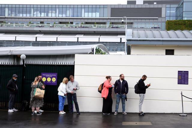 Socially-distanced queueing at The All England Lawn Tennis and Croquet Club