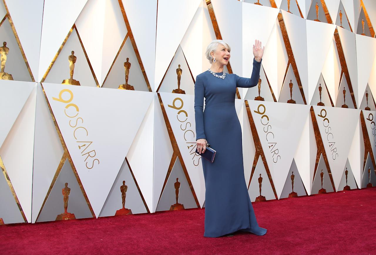<p>Another hit came from Helen Mirren, who went for a simple but beautiful blue-grey gown for the Oscars (Getty Images) </p>