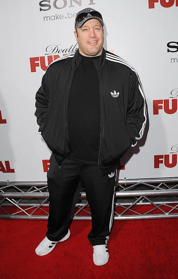 """Wearing a tracksuit in public is never a good idea. Wearing a tracksuit to the red carpet premiere of a major motion picture should be punishable by law. Remember that for next time, Kevin James. Jason Merritt/<a href=""""http://www.gettyimages.com/"""" target=""""new"""">GettyImages.com</a> - April 12, 2010"""