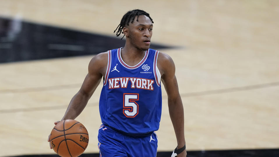 New York Knicks guard Immanuel Quickley (5) during the second half of an NBA basketball game against the San Antonio Spurs in San Antonio, Tuesday, March 2, 2021.