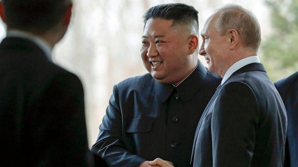 PHOTO: Russian President Vladimir Putin, right, and North Korea's leader Kim Jong Un shake hands during their meeting in Vladivostok, Russia, Thursday, April 25, 2019. (AP Photo/Alexander Zemlianichenko)