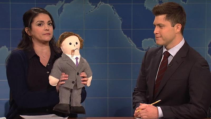 'SNL' Tackles Hollywood Sexual Harassment Scandal With Visit From H.R. in Brilliant 'Weekend Update' Sketch