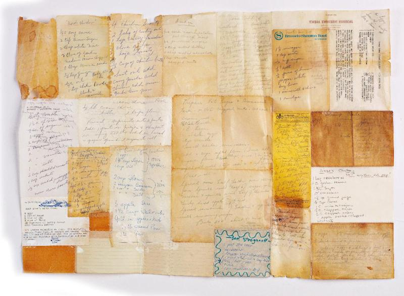 "This undated publicity photo provided by Interweave/F+W Media shows artist Daniella Woolf's piece, ""Stroganoff,"" in which she preserved her mother's recipes by stitching the cards together and dipping or brushing the ensemble with a wax medium. Woolf, of Santa Cruz, Calif., recommends trying the same with vintage knitting instructions or old, canceled checks. Woolf is the author of ""The Encaustic Studio"" (Interweave/F+W Media, 2012). (AP Photo/Interweave/F+W Media, Joe Coca)"