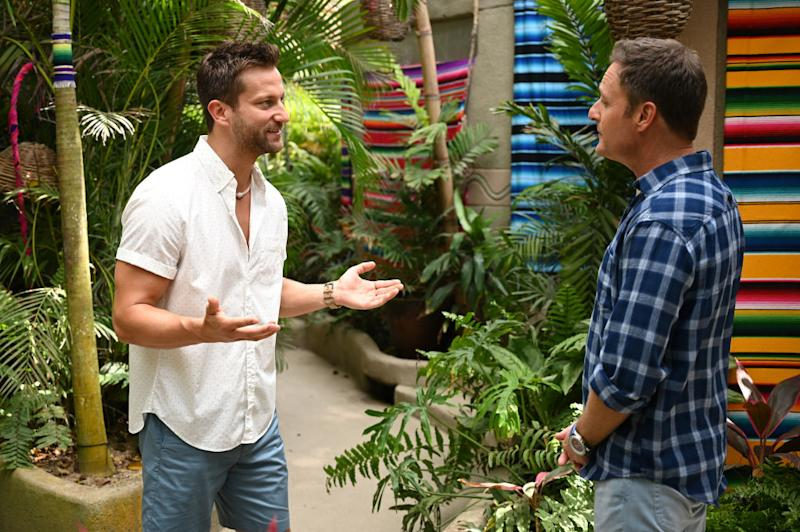 "Chris Bukowski talks to host Chris Harrison on ""Bachelor in Paradise."" (Photo: John Fleenor/ABC via Getty Images)"