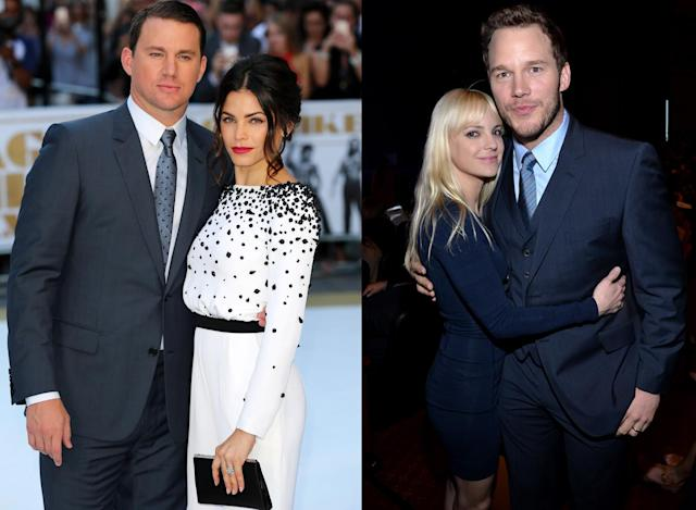 Channing Tatum and Jenna Dewan/Anna Faris and Chris Pratt. (Photo: Getty Images)