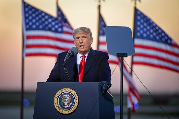 <p>Donald Trump, pictured at a rally on Friday, has declared 1 November a 'day of remembrance for those killed by illegal aliens'</p> (AP)