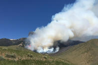 In this photo provided by the Custer Gallatin National Forest, the Robertson Draw fire burns near Red Lodge, Mont., on Monday, June 14, 2021. Authorities warned of extreme wildfire danger in Montana and Wyoming Tuesday as a sweltering heat wave was forecast to intensify across large parts of the two states after already delivering record high temperatures. (Custer Gallatin National Forest via AP)