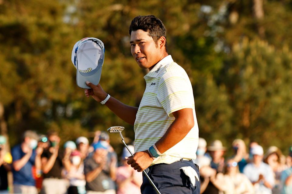 <p>Hideki Matsuyama celebrates becoming the 2021 Masters champion</p> (Getty Images)