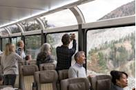 """<p>With its unique glass-domed fleet, 180-degree views of the sky and reclining seats, the <a href=""""https://www.goodhousekeepingholidays.com/tours/canada-rocky-mountaineer"""" rel=""""nofollow noopener"""" target=""""_blank"""" data-ylk=""""slk:Rocky Mountaineer train"""" class=""""link rapid-noclick-resp"""">Rocky Mountaineer train</a> gives you the best, most comfortable views of Western Canada. You can spot Fraser Canyon, Kinbasket Lake and Pyramid Falls among other extraordinary sites that can be witnessed from on-board one of the train's four routes.</p>"""