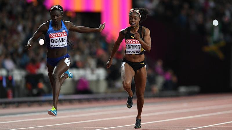 American Bowie wins women's 100m title at athletics worlds (updated with quotes)