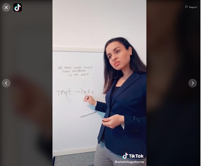 Sarah Cooper performs her impersonation of President Donald J. Trump in a video posted to her TikTok account whatchugotforme.
