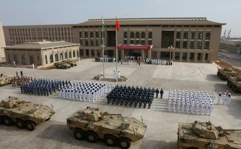 Chinese military  personnel attending the opening ceremony of the Djibouti base in August