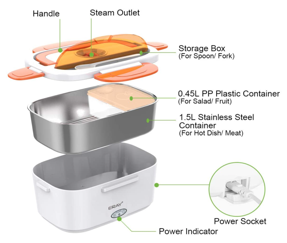 Inside the ERAY Portable Electric Lunch Box.
