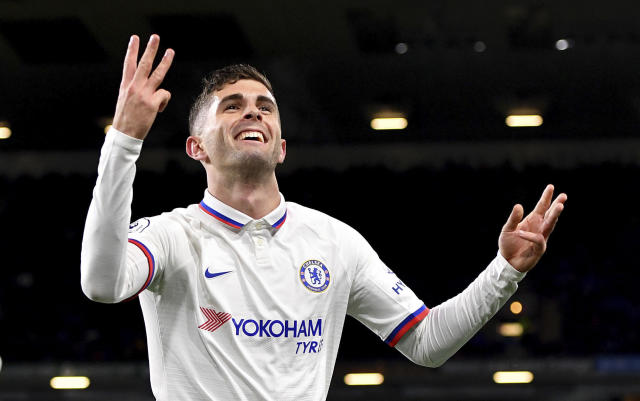 Christian Pulisic's hat-trick helped Chelsea beat Burnley at Turf Moor. (Anthony Devlin/PA via AP)