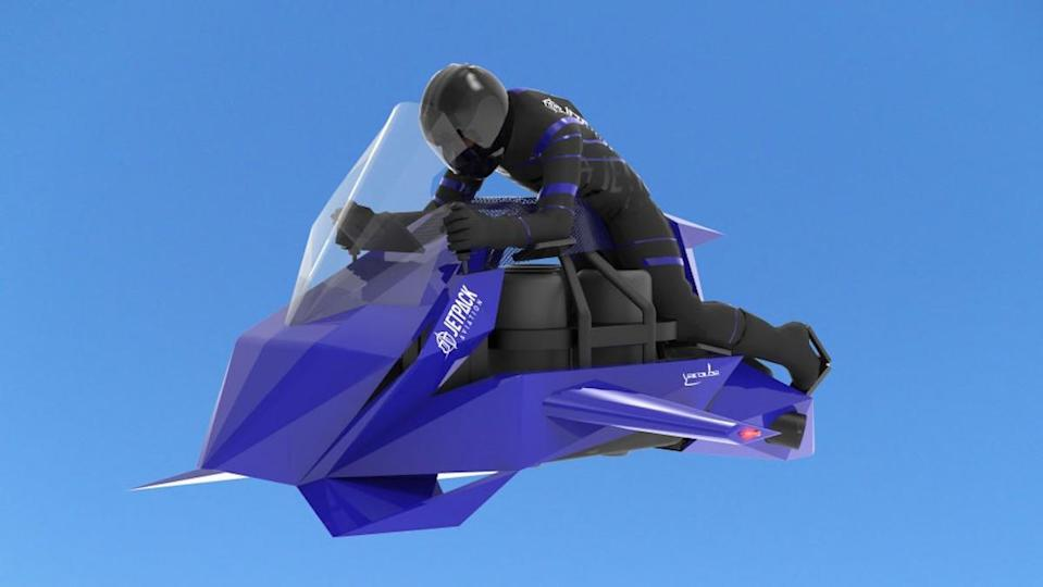 An illustration og a helmeted person riding a blue flying motorcycle that looks like a Jet Ski