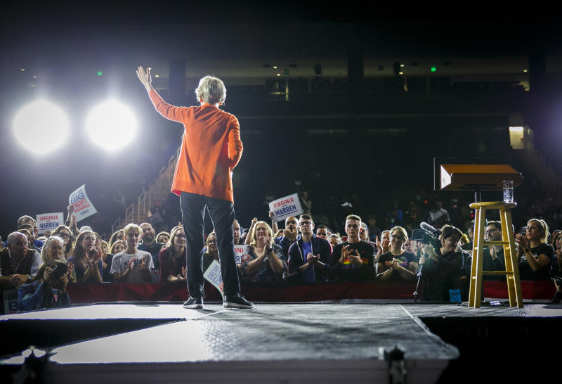 Democratic presidential candidate Elizabeth Warren addresses the crowd during her town hall meeting at Chartway Arena at the Ted Constant Convocation Center in Norfolk, Va., Friday, Oct. 18, 2019. (Kristen Zeis/The Virginian-Pilot via AP)