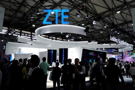 A ZTE sign is pictured at Mobile World Congress (MWC) in Shanghai