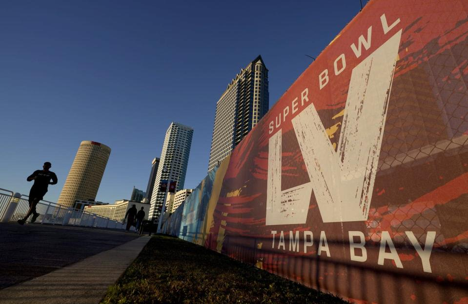 "<span class=""caption"">Tampa, Fla., is hosting Sunday's Super Bowl football game, despite the ongoing COVID-19 pandemic. </span> <span class=""attribution""><span class=""source"">(AP Photo/Charlie Riedel)</span></span>"