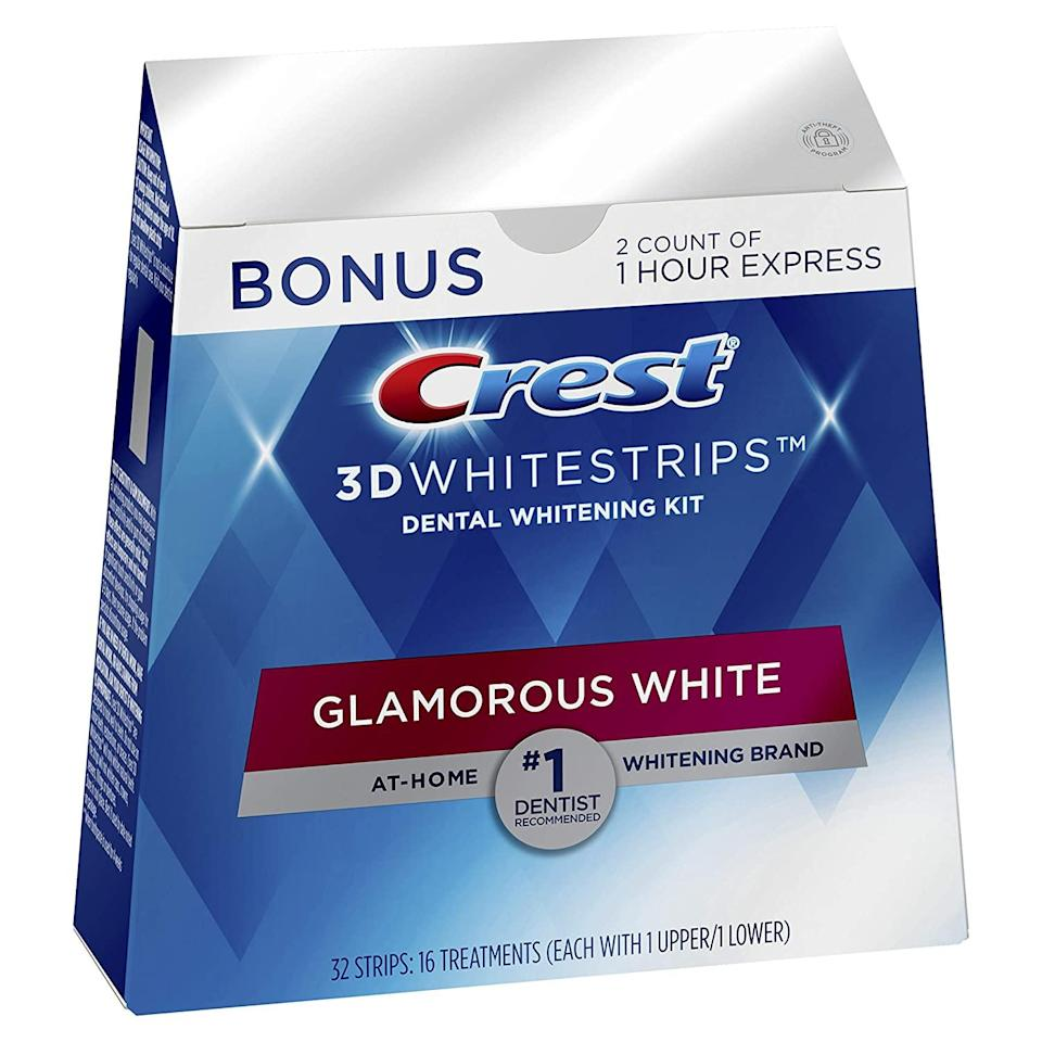 "<h2>25% Off Crest 3D Whitestrips Glamorous White Teeth Whitening Kit</h2><br>It wouldn't be an Amazon sale without a solid discount on everyone's favorite smile-making strips. This 25% off discount on Crest's Glamorous Whitestrips (aka a very practical holiday prezzie!) is a lightning deal, so better act fast.<br><br><strong>Crest</strong> 3D Whitestrips Glamorous White, Teeth Whitening Kit, $, available at <a href=""https://amzn.to/3mo6tns"" rel=""nofollow noopener"" target=""_blank"" data-ylk=""slk:Amazon"" class=""link rapid-noclick-resp"">Amazon</a>"