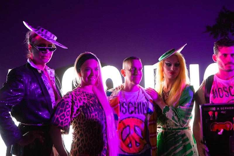 Raja, Erika Jayne, Jeremy Scott, and Aquaria attend the Moschino party in Indio, California, during weekend one of Coachella on Saturday, April 13, 2019. Photograph by Alex Welsh for W magazine.