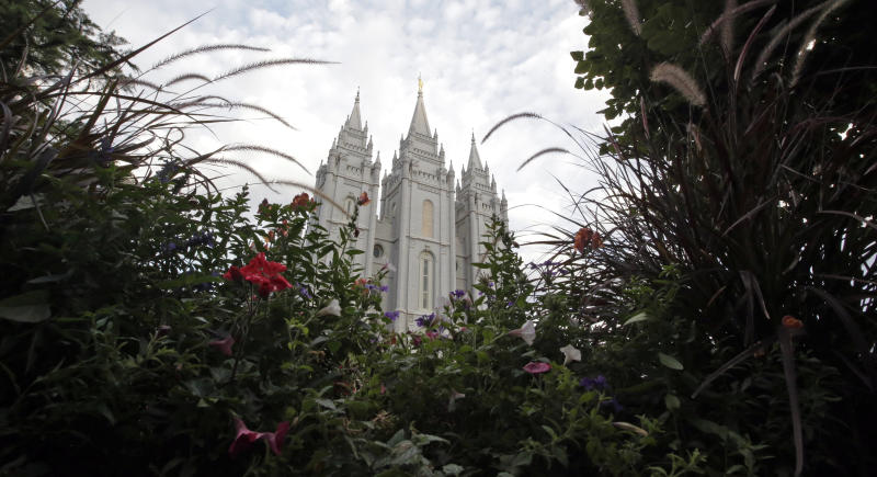 FILE - In this Sept. 14, 2016, file photo, the Salt Lake Temple, is shown, in Salt Lake City. A nationwide survey of midterm voters found that about two-thirds of Mormon voters nationwide favored Republicans in the midterm elections, but approval for President Donald Trump lags behind.  (AP Photo/Rick Bowmer, File)
