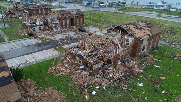 PHOTO: Aerial footage from Salt Grass Landing Apartments in Rockport, Texas damaged by Harvey, Aug 27, 2017. (Courtney Sacco and Matt Woolbright/Caller-Times via USA TODAY NETWORK)
