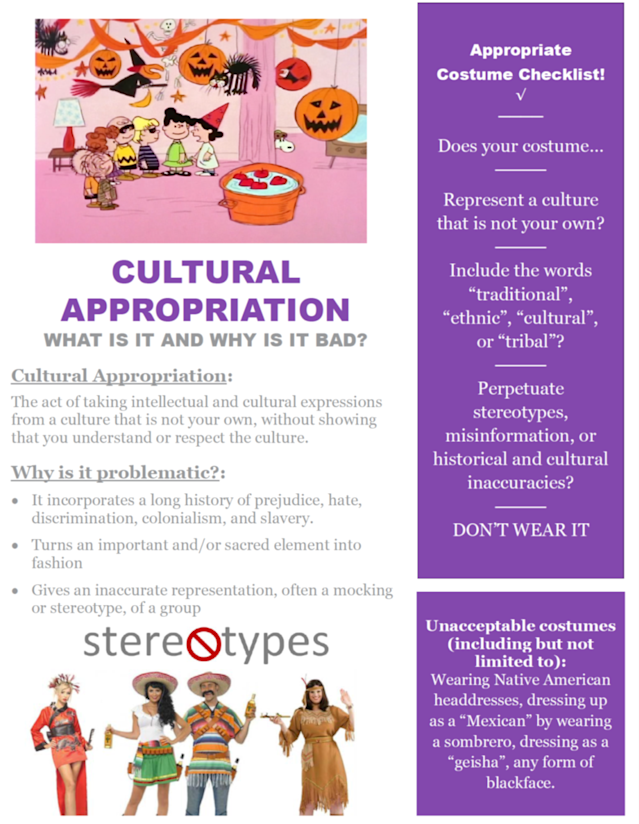 An appropriate costume checklist from St. Thomas University. (Photo: St. Thomas University)