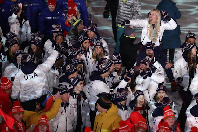 <p>Lindsey Vonn of the United States and Team USA walk in the Parade of Athletes during the Closing Ceremony of the PyeongChang 2018 Winter Olympic Games at PyeongChang Olympic Stadium on February 25, 2018 in Pyeongchang-gun, South Korea. (Photo by Ryan Pierse/Getty Images) </p>