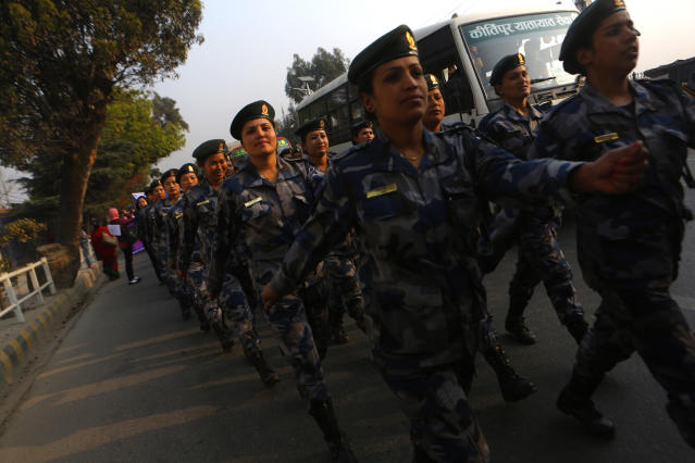 <p>Nepalese police women march during a rally to mark international women's day in Kathmandu, Nepal, Thursday, March 8, 2018. International Women's Day is marked on March 8 every year. (Photo: Niranjan Shrestha/AP) </p>