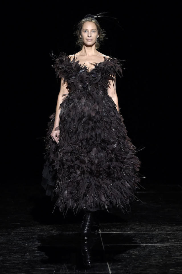 <p>After quitting the modelling game 25 years ago, Christy Turlington, 50, made an unanticipated comeback in Marc Jacobs feathers. <em>[Photo: Getty]</em> </p>