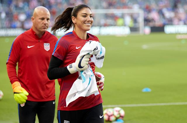 FILE PHOTO: Jul 22, 2016; Kansas City, KS, USA; U.S. women's Olympic soccer team goalkeeper Hope Solo (1) warms up before the USA vs Costa Rica friendly at Children's Mercy Park. Mandatory Credit: Gary Rohman/MLS/USA TODAY Sports / Reuters Picture Supplied by Action Images/File Photo *** Local Caption *** 2016-07-23T010634Z_809685278_NOCID_RTRMADP_3_SOCCER-INTERNATIONAL-FRIENDLY-WOMEN-S-SOCCER-COSTA-RICA-AT-USA.JPG - MT1ACI14485561