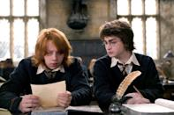 <ul> <li><strong>What to wear for Ron:</strong> This works best if you're a redhead; if not, you'll need a red wig. Wear black pants and a cape over a white dress shirt, gray vest, and tie. Make a wand.</li> <li><strong>What to wear for Harry:</strong> All the above except the red hair. Pick up some round-framed glasses, and draw that infamous lightning-bolt scar on your forehead.</li> </ul>