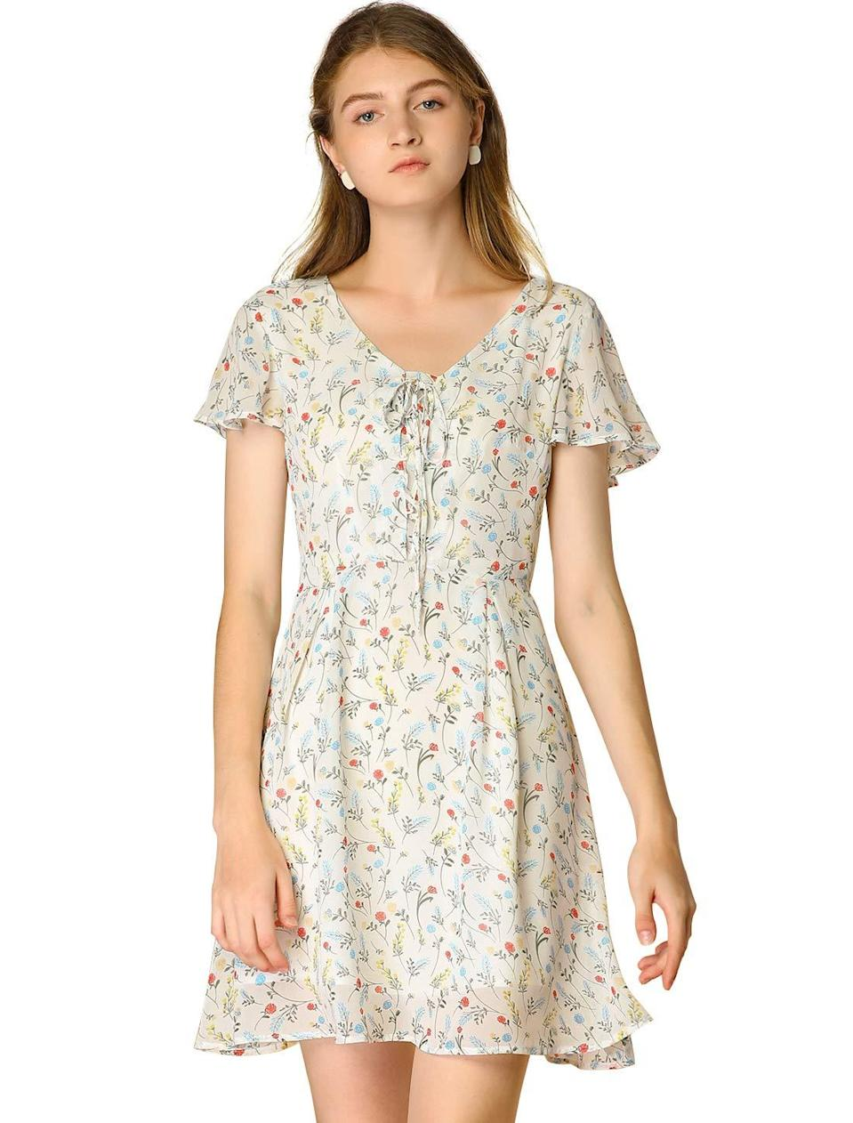 """<br><br><strong>allegra k</strong> Floral Flouncing Sleeve Dress, $, available at <a href=""""https://amzn.to/3o7V39c"""" rel=""""nofollow noopener"""" target=""""_blank"""" data-ylk=""""slk:Amazon"""" class=""""link rapid-noclick-resp"""">Amazon</a>"""