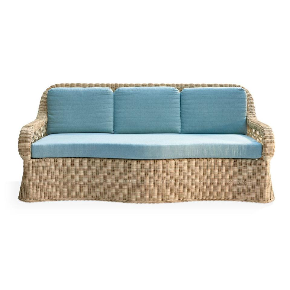 "<p><strong>Soane</strong></p><p>Price Upon Request </p><p><a href=""https://www.soane.co.uk/rattan/the-lily-sofa"" target=""_blank"">Shop Now</a></p><p>Soane's rattan workshop in England hand-weaves the undulating contours of the Rattan Lily sofa, a piece designed in collaboration with Mark D. Sikes.<br></p>"