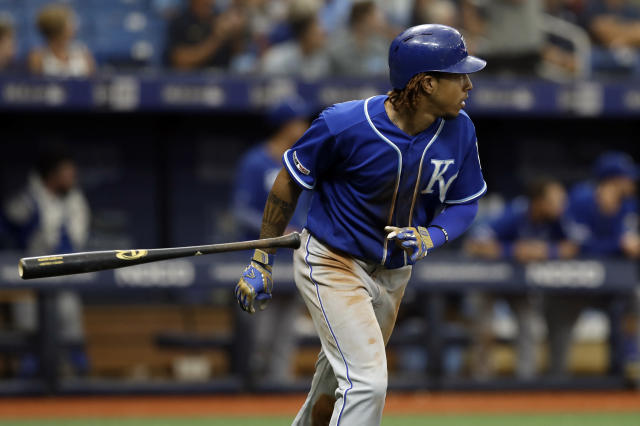 Kansas City Royals' Adalberto Mondesi drops his bat as he watches his three-run home run off Tampa Bay Rays relief pitcher Ryan Yarbrough during the sixth inning of a baseball game Wednesday, April 24, 2019, in St. Petersburg, Fla. (AP Photo/Chris O'Meara)