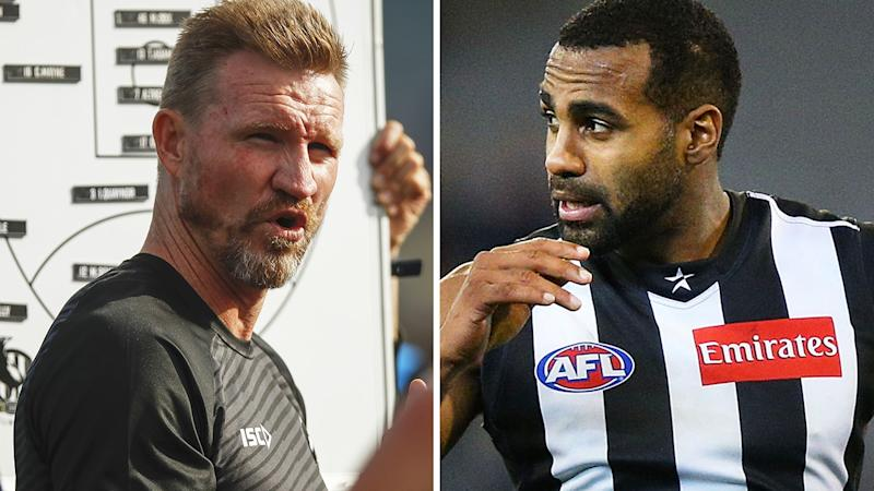 A 50-50 split image shows Collingwood coach Nathan Buckley on the left and former player Heritier Lumumba on the right.