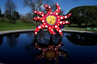 """The Yayoi Kusama exhibit, which includes works such as """"I Want to Fly to the Universe,"""" was delayed by a year because of the pandemic"""