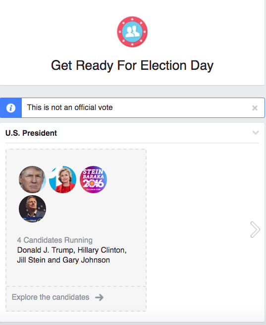 This September, Facebook launched its first-ever voter registration drive. Last week, the social network rolled out a personalized ballot guide, designed to provide users with basic information on all the candidates running for federal, state, and local office. (Screenshot via Facebook)