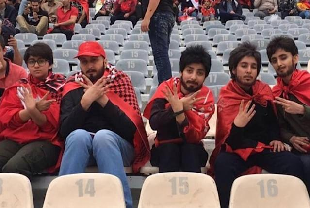 Several Iranian women donned fake beards and wigs to attend a soccer match, since stadiums don't usually allow women to enter. (Reddit)