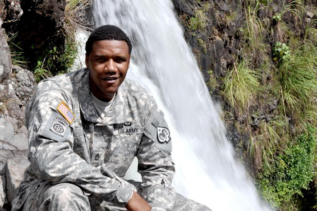 <p>In this June 6, 2015 photo, U.S. Army National Guard Sgt. 1st Class Charleston Hartfield of the 100th Quartermaster Company poses for a photo at Rainbow Falls near Hilo, Hawaii. Hartfield was one of the people killed in Las Vegas after a gunman opened fire on Sunday, Oct. 1, 2017, at a country music festival. (Sgt. Walter Lowell/U.S. Army National Guard via AP) </p>
